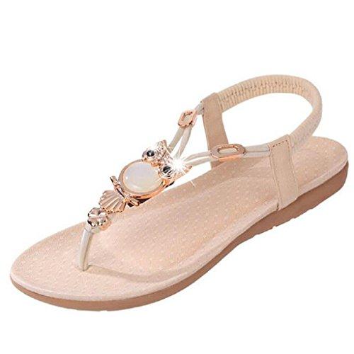 SHOBDW Damen Sandalen, Frauen Strass Eule Süße Sandalen Clip Toe Sandalen Strand Schuhe (40, Beige)