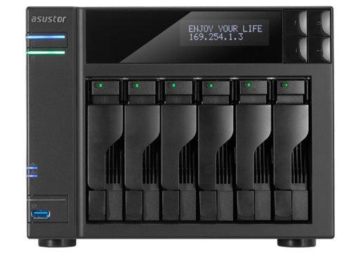 Asustor as-606t 6Bay NAS, UPnP media server, Intel Atom 2.13GHz processore Dual-core con RAID, Iscsi, Cloud, backup e uscita HDMI media streaming, colore: Nero 6TB (6 x 1TB)