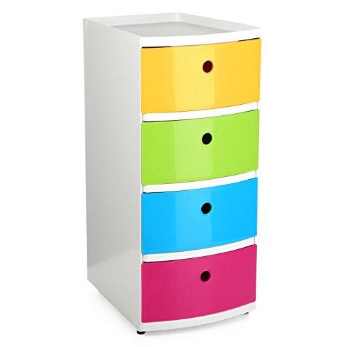 Sanixa TA1200002 trendiges Schubladen-Regal Kunststoff | Korpus Grau | 4 Schubladen weiß | Aufbewahrungsregal Schuhbladen-Schrank Standregal