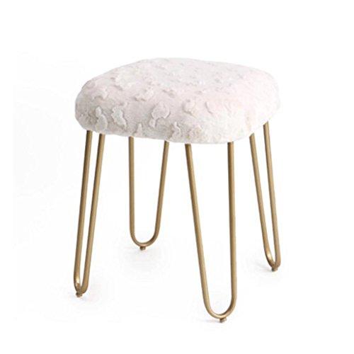 Tabouret en peluche en métal mode maquillage tabouret Dressing tabouret à manger chaise thé table tabouret H50CM (Couleur : Beige)