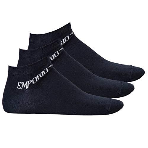Emporio Armani Herren Sneakersocken, 3er Pack - Logo (L (45-46), Blau)