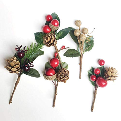 INFILM 10 Pcs Artificial Greenery Pine Branches with Pinecone, Craft Boutique Holiday Floral Picks Fake Pine Evergreen Plant Stem Flower Arrangement Decorations