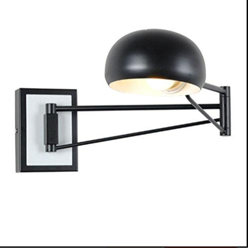 LED applique da parete, dimmer cromato + lampada da parete moderna minimalista applique da parete comodino incandescente moderna comodino lampada da lettura a braccio lungo (Colore : Nero)