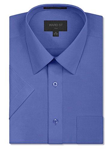 Ward St Men's Regular Fit Short Sleeve Dress Shirts, 2XL, 18-18.5N, French Blue