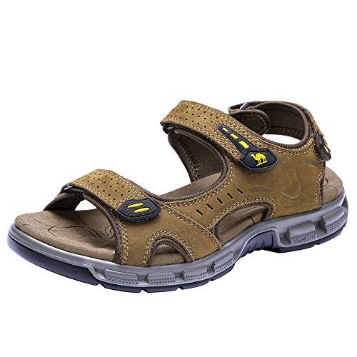 CAMEL CROWN Herren Outdoor Sports Sandalen Waterproof Wandersandalen Strand Ledersandalen Trekking Sommer Männer Sandalen Schuhe Klettverschluss 41 EU / 7.0 UK,  Kaffee
