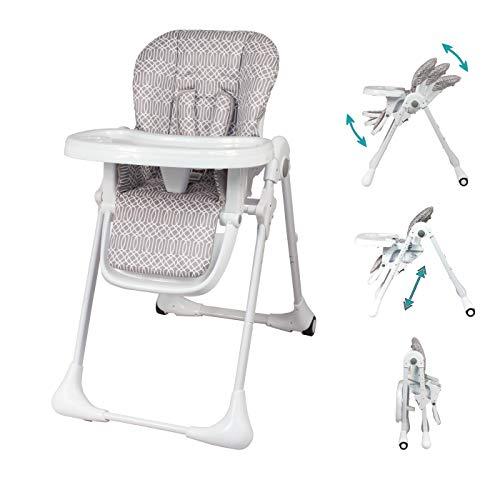 Bambisol - Chaise Haute Bébé Évolutive Pliable - Dossier Inclinable, 7 Hauteurs d'Assise, Repose-jambes Réglable, Roulettes