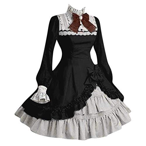 BASACA Damen Mode Frauen Lolita Nette Kleid Abendkleider Cosplay Kostüme Partykleid Mit Bogen Casual 2020 (Large, Schwarz)