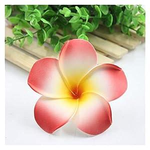 YSQSPWS Artificial Flowers 10Pcs 9cm Plumeria Hawaiian Foam Frangipani Artificial Flower Colorful (Color : Red)