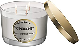 Scenttunine Scented Candle, Pure Natural Organic Soy Wax Candle Jar 40h Burn Time Aromatherapy Fall Candles for Home...
