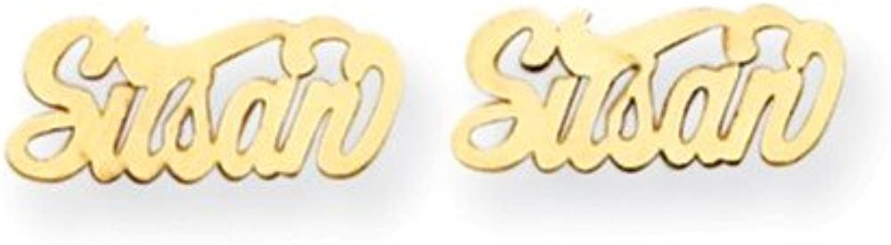 Solid 14k Yellow Gold Nameplate Post Studs Earrings - Flyer Pg. 7-14mm x 6mm