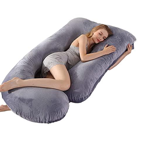 Actualización de almohada de embarazo, almohada de cuerpo completo de 145cm para mujeres embarazadas y adultos con funda de almohada de terciopelo lavable, almohada de maternidad mullida cómoda de 3kg
