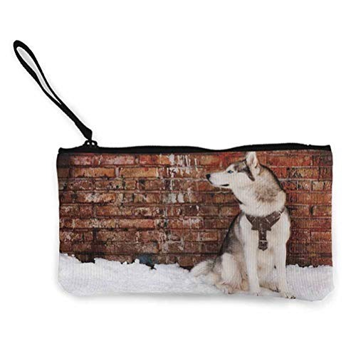 Alaskan Malamute Mini Portable Case Cosmetic Makeup Jewlery Pouch Domestic Pet Grungy Brick Wall and Snow Pedigree Animal Friend Brown White Orange 8.6in by 4.7in