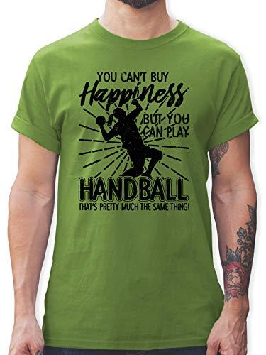 Handball - You Can't Buy Happiness, but You can Play Handball - weiß - XL - Hellgrün - Spruch - L190 - Tshirt Herren und Männer T-Shirts