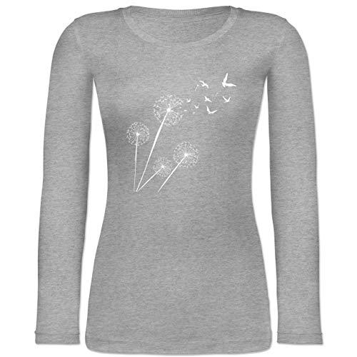 Statement - Pusteblume Vögel - L - Grau meliert - Tshirt Damen - BCTW071 - Langarmshirt Damen
