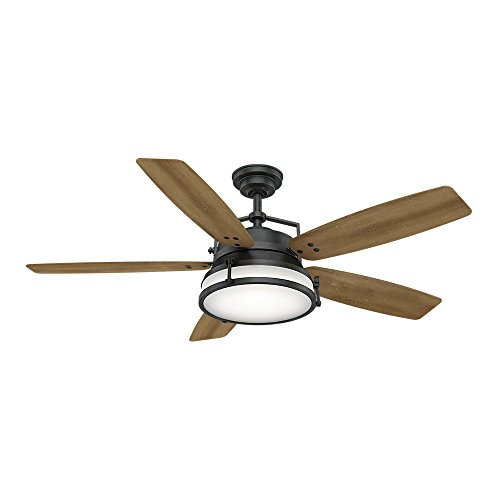 Casablanca Indoor / Outdoor Ceiling Fan with LED Light and wall control - Caneel Bay 56 inch, Black,...