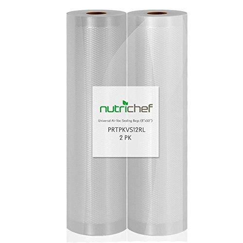 NutriChef PRTPKVS12RL Premium (2) Vacuum Sealer Bags-8' Wx50'L PKVS10BK, PKVS10WT, PKVS18SL, PKVS18BK, PKVS20STS, PKVS30STS, and Other Brands, One Size, 8'x50' Rolls (2-Pack)