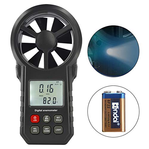 LIUMY Digital Anemometer Handheld with Durable Battery, Wind Speed Meter for Measuring Wind Speed, Temperature and Wind Chill with Backlight, Max/Min/Avg and Data Hold for Sailing, Hang-Gliding
