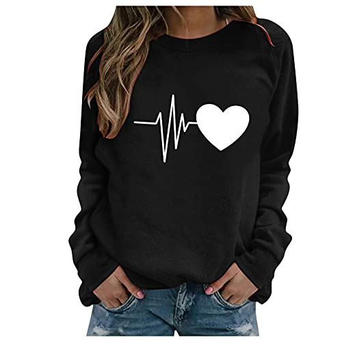 Womens Sweatshirts Long Sleeve Loose Comfy Crewneck Pullover Tops Simple Novelty Causal Shirts Inspirational Outfits Tops for Womens Sexy Casual Summer Women's Spring Tops(A-LXT8-Black,XXL)