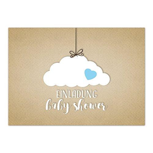 8 x Einladung Baby Shower Party/Einladungskarten mit Umschlag im Set/Motiv: Wolke auf Kraftpapier Look - blau Junge/Babyparty Karte/Postkarte /