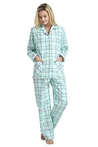 GLOBAL Mujer Pijamas Set de 2 Piezas 100% algodón acogedora Franela PJ Conjunto de Botones Loungewear Frontal Superior de los Pantalones…