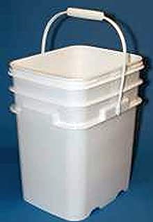 5.3 Gallon Square Ez Stor Plastic Bucket and lid, w/Handle, 6 Pack