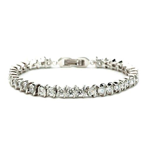 Daesar Vergoldet Armband Damen Bettelarmband für Damen Weiß Armband Zirkonia Armband für Damen Länge:19CM