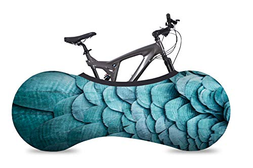 Velo Sock Bicycle Indoor Cover for Storage and Transportation, Stretchy Dirt Proof Fabric, Bike Travel Protection Cover, Stylish Accessory for Adult Bike - Feathers