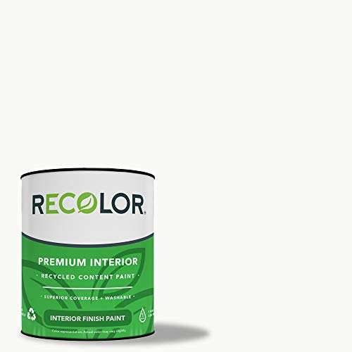 RECOLOR Paint Recycled Interior Latex Paint Wall Finish, 5 Gallon, Interior – Ceiling White (Flat)