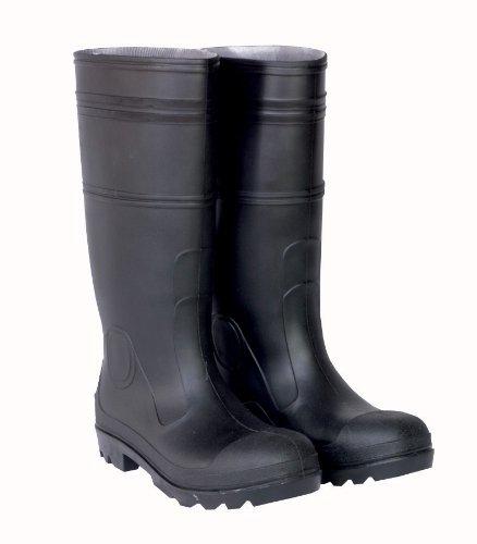 CLC Custom Leathercraft Rain Wear R24012 Over the Sock Black PVC Rain Boot, With Steel Toe, Size 12