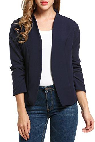 Beyove Damen Kragenlos Blazer Business Jacke Cardigan Sakko Klassisch Kurzjacke Anzugjacke (EU 40(Herstellergröße: L), C+Dunkelblau)