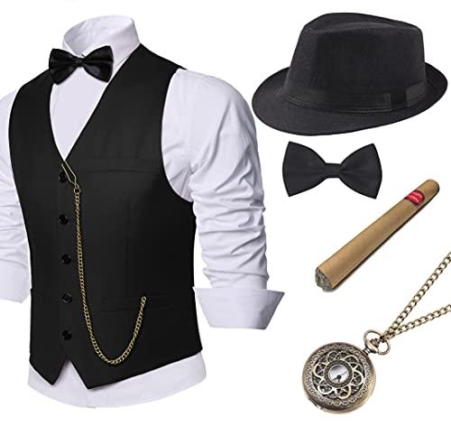 Coucoland 1920s Accessoires Herren Mafia Gatsby Kostüm Set inklusive Panama Gangster Hut Herren Weste Halsschleife Fliege Taschenuhr und Plastik Zigarre (Schwarz, L)