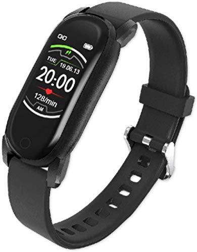 Reloj inteligente para hombre y mujer, presión arterial, banda inteligente, ritmo cardíaco, pulsera de fitness, resistente al agua, reloj inteligente para Android IOS (color: acero plateado) - negro