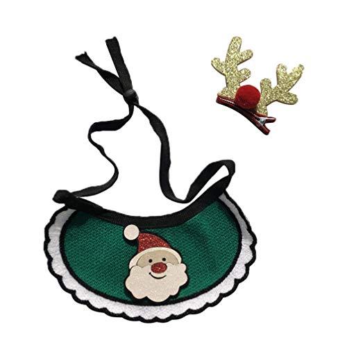 Amosfun Navidad Perro pañuelos Mascota Babero triángulo Bufanda pañuelo Ajustable Navidad Mascota Suministros...