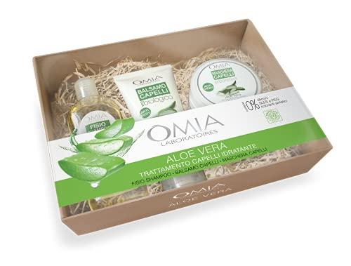 Omia - Beauty Box Capelli Aloe Vera, Confezione Regalo con Shampoo, Balsamo e Maschera, Nutriente e Idratante, Dematologicamente Testato