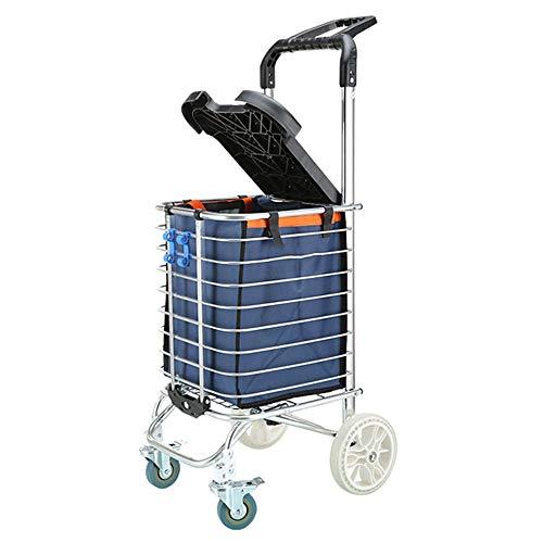 ZR Carrito de Compras portátil Plegable, con Tapa (se Puede sentar), comestibles, Carro para Subir escaleras, Carro de Herramientas de lavandería y cojinete de Ruedas (Style : A)