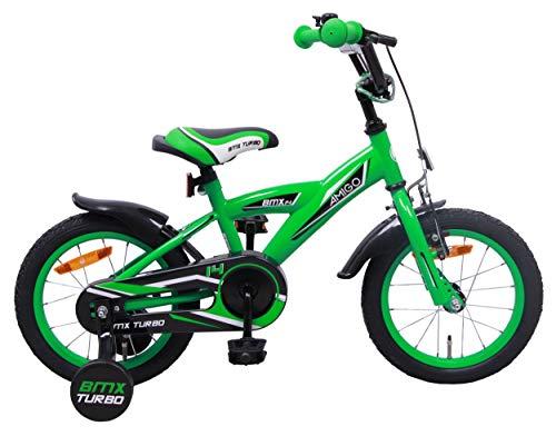 AMIGO BMX Turbo - Kinderfahrrad für Jungen - 14 Zoll - mit Handbremse, Rücktritt, Lenkerpolster und Stützräder - ab 3-4 Jahre - Grün