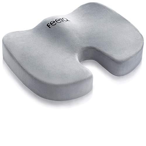 feela.® Orthopädisches Sitzkissen [3 Härtegrade] - Ergonomisches Sitzkissen für Bürostuhl & Co - Wirkt Schmerzreduzierend, Erhöht Sitzkomfort, Fördert Durchblutung und Entlastet das Steißbein (Weich)