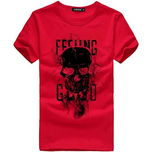 Xmiral Kurzarm Oberteile Herren Schädel Drucken Buchstabe Rundhalsausschnitt Tees Shirt Baumwolle Frühling und Sommer T-Shirt(3XL,Rot)