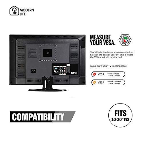 MODERNLIFE Support TV Mural Orientable et Inclinable pour téléviseur de 10-26 Pouces (25-65 cm), VESA Max 100x100mm, Charge 25kg (55lbs), Support Mural TV pour écran Plat PC LED LCD Plasma et incurvé