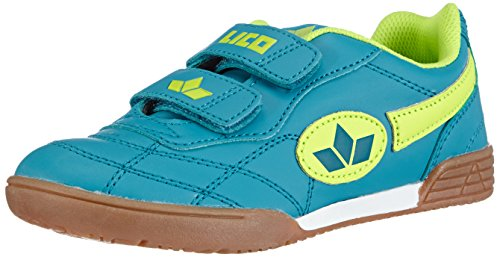 Lico Bernie V Unisex Kinder Multisport Indoor Schuhe, Petrol/ Lemon, 32 EU