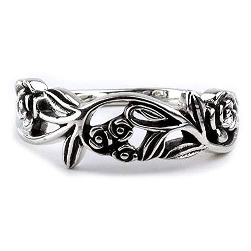 Ring Rosenranke Rose 925 Sterling Silber Höhe 0,6cm (59 (18.8))