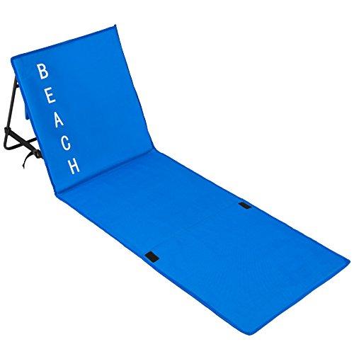 TecTake Gepolsterte Strandmatte mit Verstellbarer Rückenlehne und praktischem Tragegurt - Diverse Farben - (Blau | Nr. 402441)