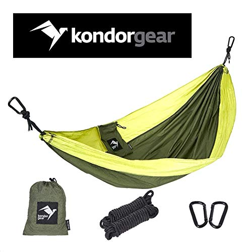 Kondor Gear Portable Lightweight Kids Parachute Hammock Swing Bed or Gear Sling for Indoor and Outdoor Camping,Travel,Beach,Yard, Perfect Small Size for Boys,Girls,Toddlers, with Tree Straps