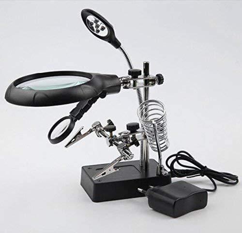 Lupa, 3 lentes LED lámpara 90mm lupa especial escritorio lupa, con clips, mangueras, etc., producción de bricolaje, grabado, mantenimiento electrónico, mantenimiento del reloj, mantenimiento del reloj