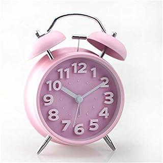 HSXOT 4 Pulgadas De Silencio Doble Campana Campana Metal Perezoso Reloj De Alarma Regalo del Estudiante Color Caramelo Retro Reloj Rosa