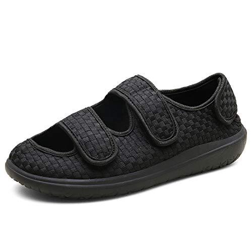 Hombre Sandalias Diabéticas Mujer Zapatillas Zapatos Diabeticos Antibacteriano Sanitized Ajustable Edema Zapatos hinchados Extra Ancha Zapatillas Adulto-Unisex,Negro,44 EU