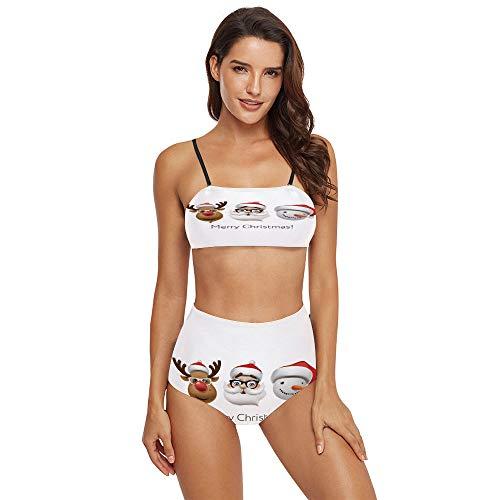 C COABALLA Women's Printing 2 Piece Bikini Sets Swimsuits -Holiday Emoticon SW16430 L