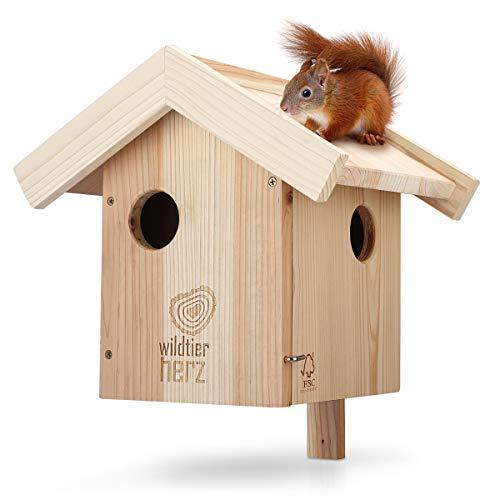 wildtier herz - Paracolpi per scoiattoli in legno massiccio avvitato, scoiattolo e nido da appendere