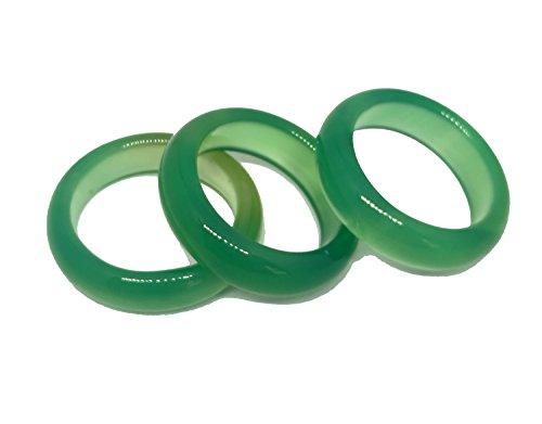 Anillo de banda de piedras preciosas de Jade, ágata verde natural de 3 unidades.