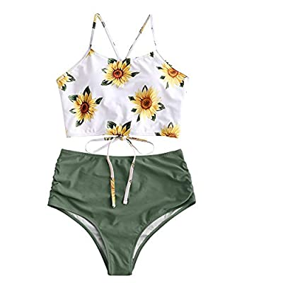 ZAFUL Women's Leaf Print Lace Up Ruched High Waisted Tankini Set Swimsuit (Green, L)